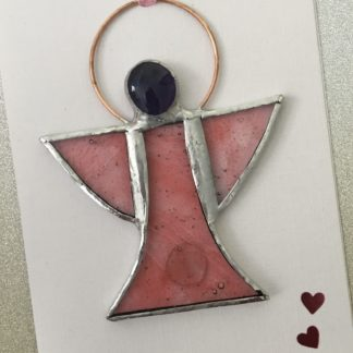 Stained Glass Card - Pink Angel